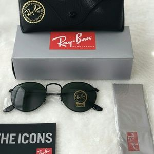 ALL BLACK ROUND RAY-BAN 100% AUTHENTIC